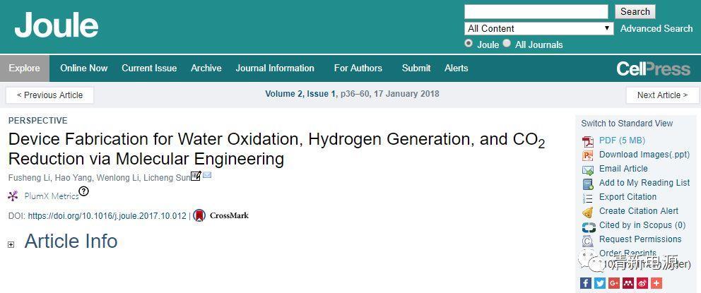 Joule综述: 通过分子工程制备水分解和二氧化碳还原功能器件