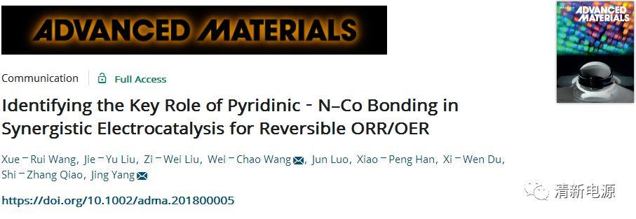 天大&南开:探秘!吡啶N-Co键在协同电催化ORR与OER中的关键角色