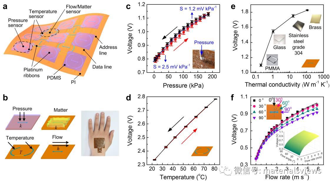 多功能感知的新型柔性电子皮肤