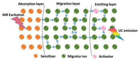 稀土掺杂上转换材料发光动力学研究新策略:离子分区掺杂体系的构建