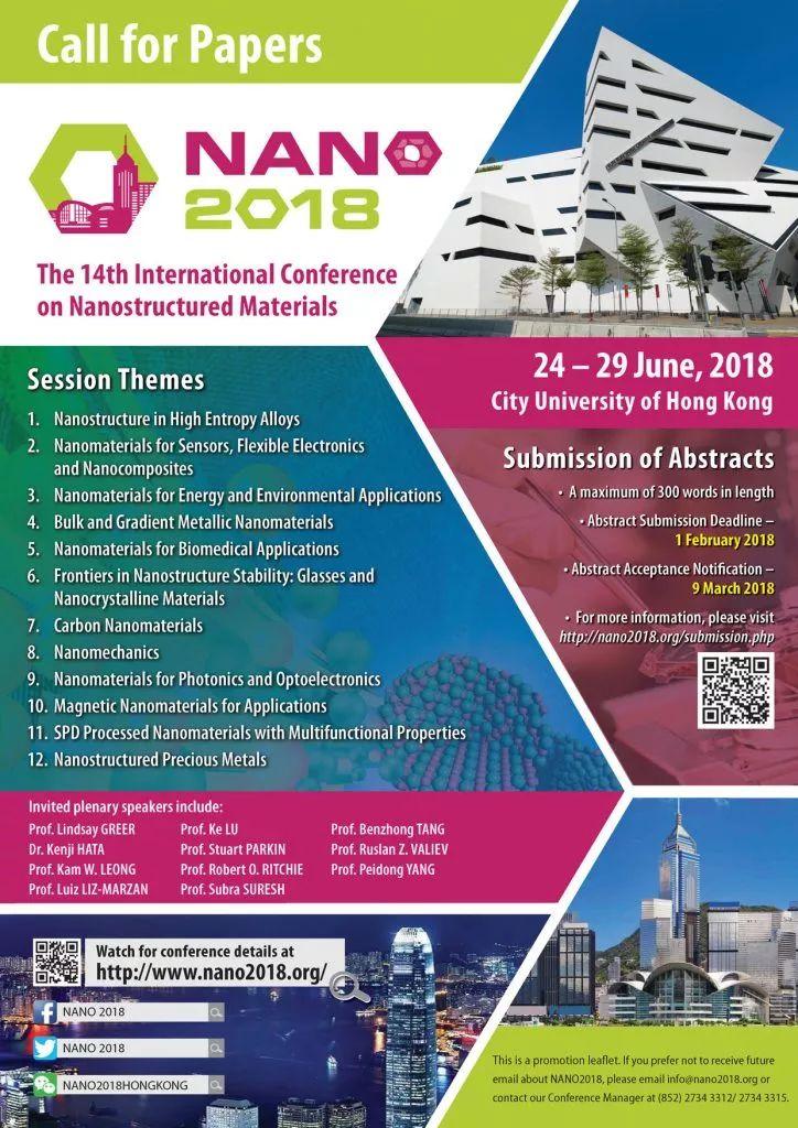 30 years of Advanced Materials at NANO 2018