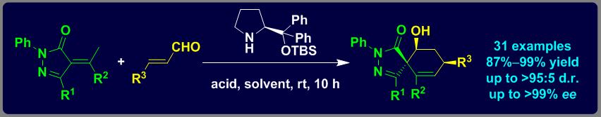 小分子催化[3+3]成环策略构建手性吡唑啉酮螺环骨架