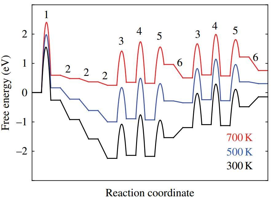 小编按:本文为理论化学研习社的第一篇文章。化学反应动力学能为催化机理带来重要的认识。反应速率,活化能等实验值的测量提供了与理论计算的桥梁。因此,理论计算的微观动力学能给实验研究者带来更多的动力学信息。 前言: 随着计算机性能提高,计算程序逐渐成熟,用计算手段辅助实验已经逐渐成为高水平表面催化文章的标配。其中最常见的就是图一这样反应路径和过渡态计算。这样的反应路径看起来很美好,但是怎么才能从这些能量数据里获取有效信息来解释催化剂活性/选择性,甚至是预测新的催化剂。解微观动力学方程直接计算反应turnove