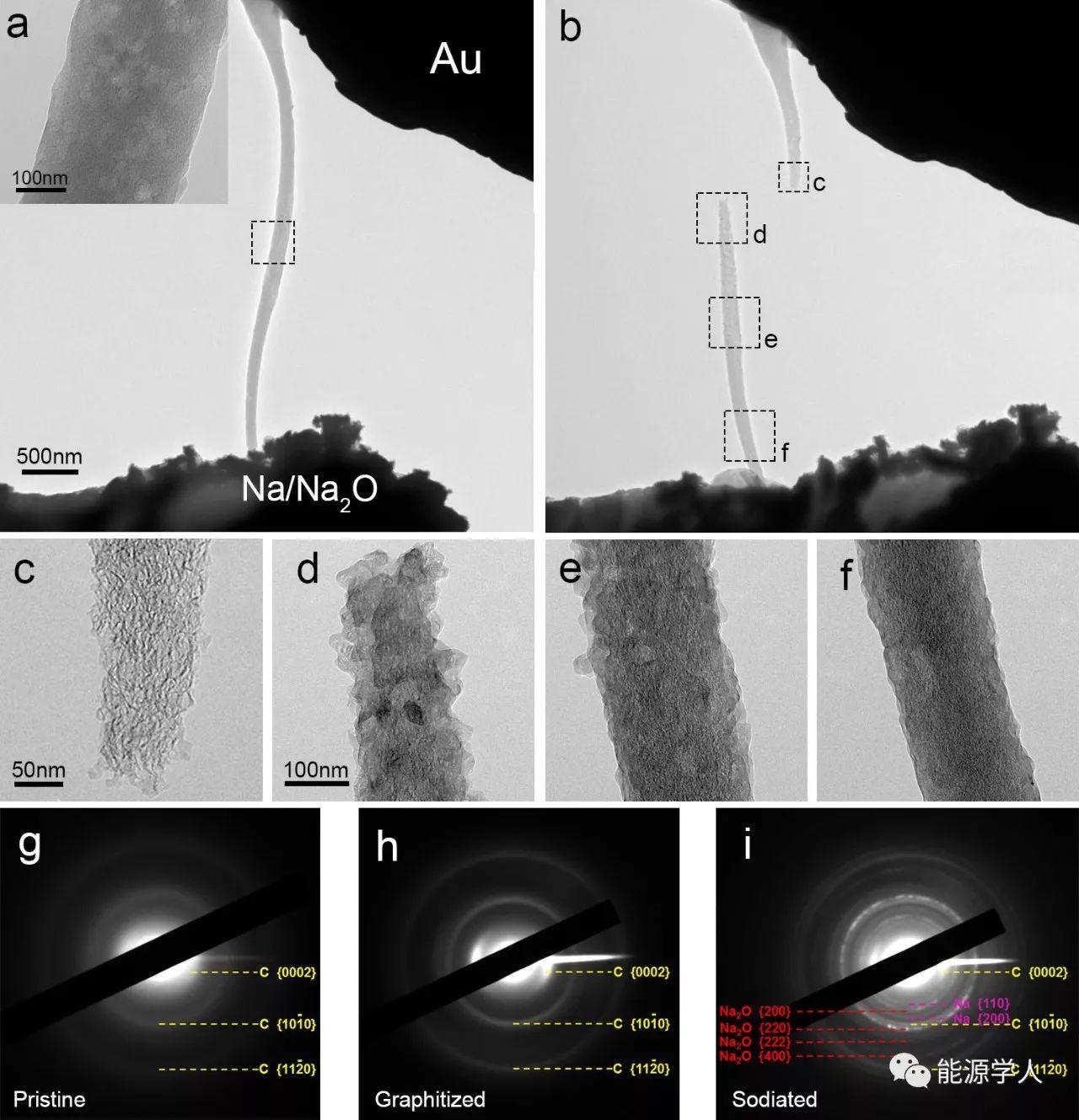 钠金属在碳纳米纤维集流体上电化学沉积/溶解过程的原位电镜观察