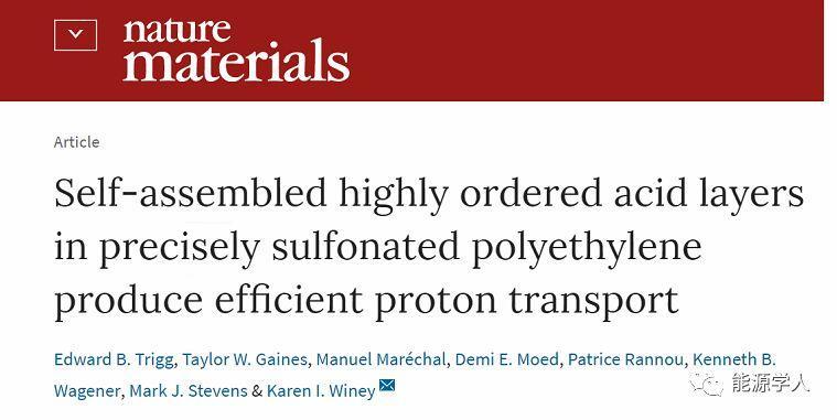 Nat. Mater.新型非氟、低成本质子交换膜