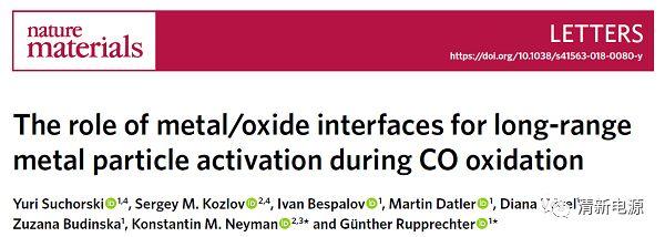 Nat. Mater. CO氧化:金属/氧化物界面对金属粒子长程活化的关键作用