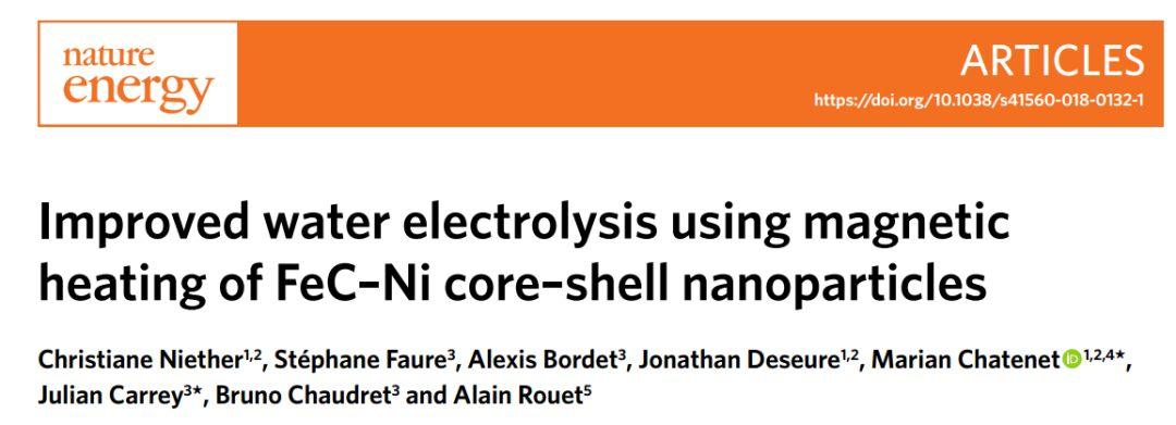 Nature Energy:磁热处理策略克服低温碱性电解水瓶颈