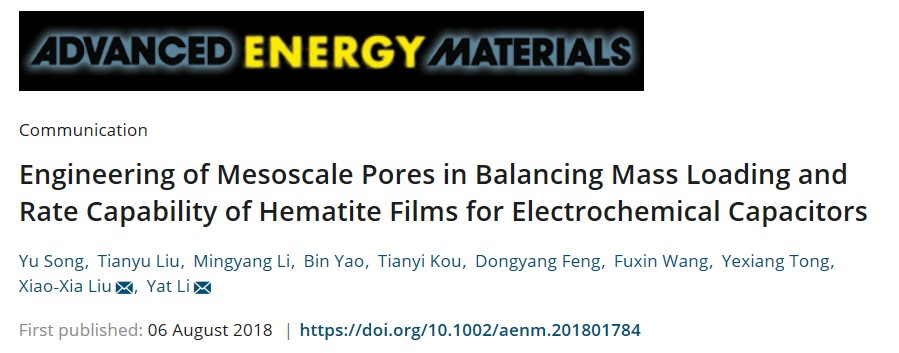 给些葡萄糖,来点正能量: 介孔可调高载量氧化铁赝电容电容器电极材料