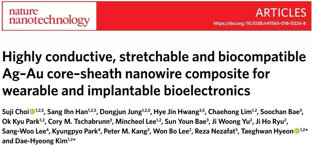 Nature Nanotechnology: 旧瓶酿新酒—Ag-Au核壳结构大幅提升可拉伸导体性能