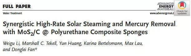 MoS2/C@聚氨酯复合海绵协同高速太阳能蒸汽和除汞