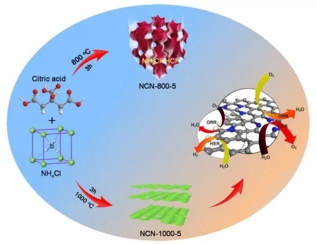 ORR、OER和HER三功能非金属电催化剂——富缺陷超薄氮掺杂碳纳米片