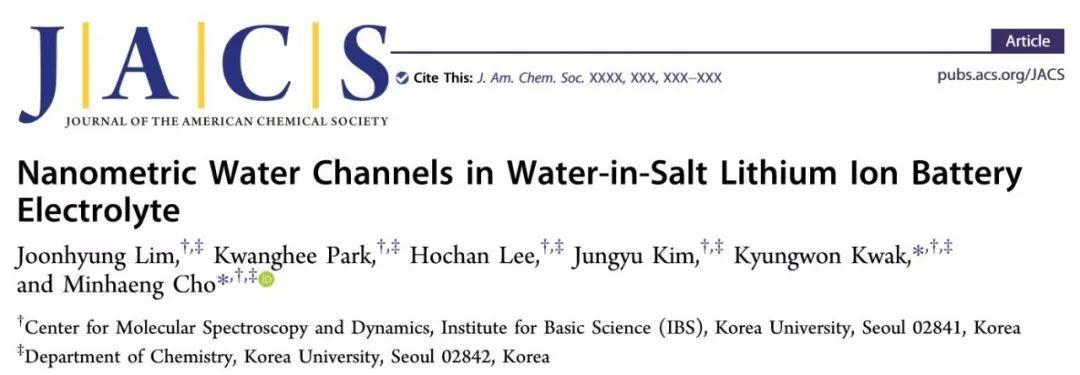 """JACS: """"water-in-salt""""电解液存在纳米水通道传输机制!"""