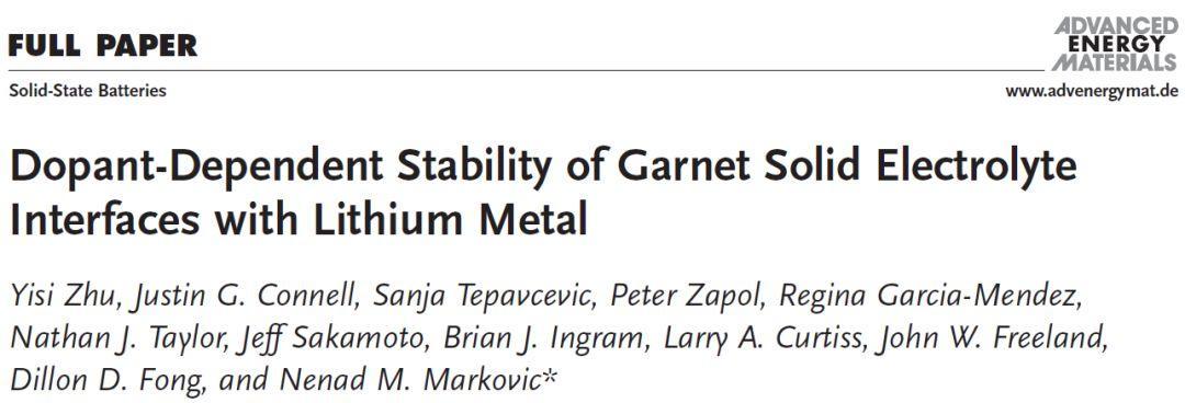 阿贡实验室固态电池新成果:锂金属石榴基固态电解质界面研究新方法