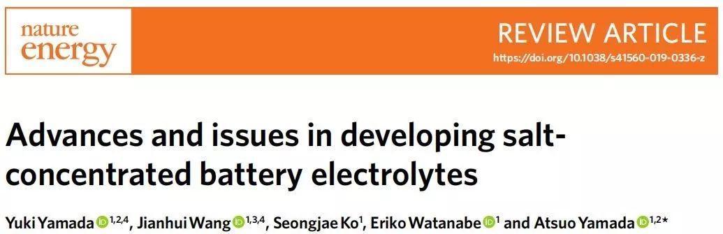 Yamada教授Nature Energy综述:高浓度电解液发展总结与展望