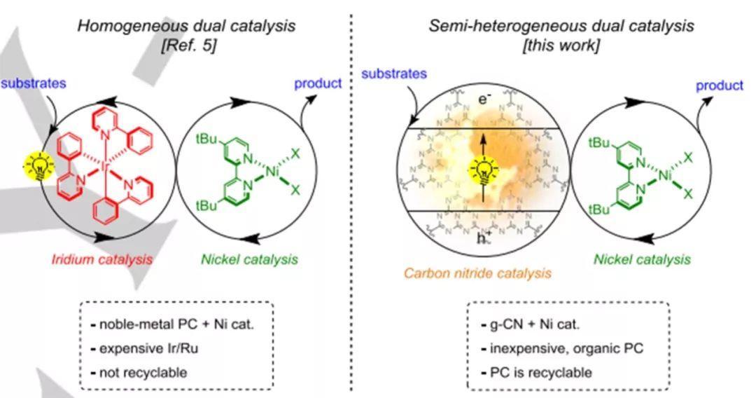 Angew. Chem.:有机镍/氮化碳领衔半异相光催化合成--羧酸与芳基卤化物的酯化反应