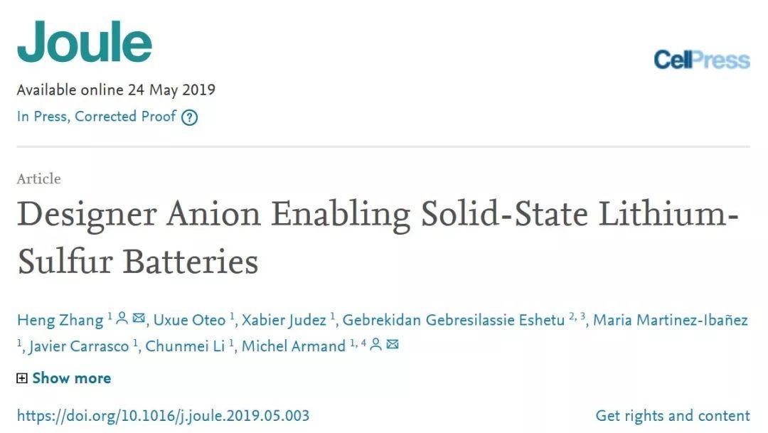 Armand最新Joule:阴离子调控助力高性能固态锂硫电池