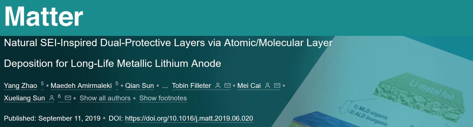 孙学良团队Matter:向天然SEI借智慧——原子层/分子层沉积制备锂金属负极保护膜