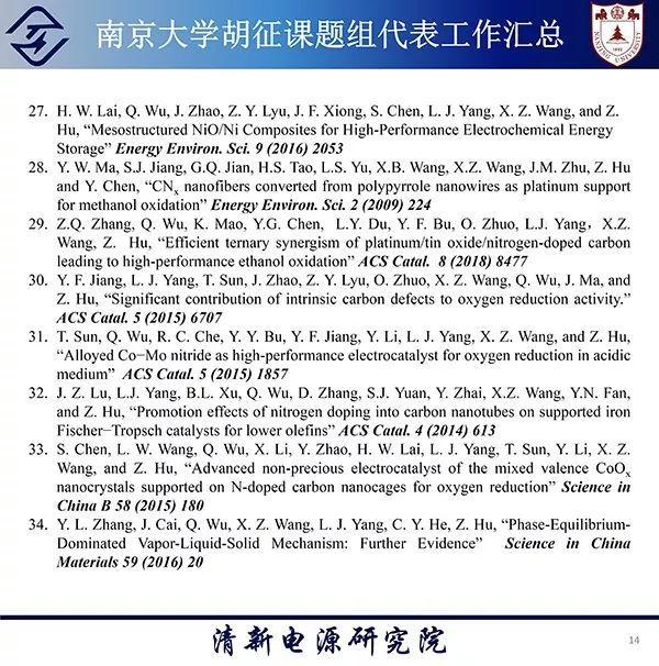 南京大学胡征课题组代表工作汇总