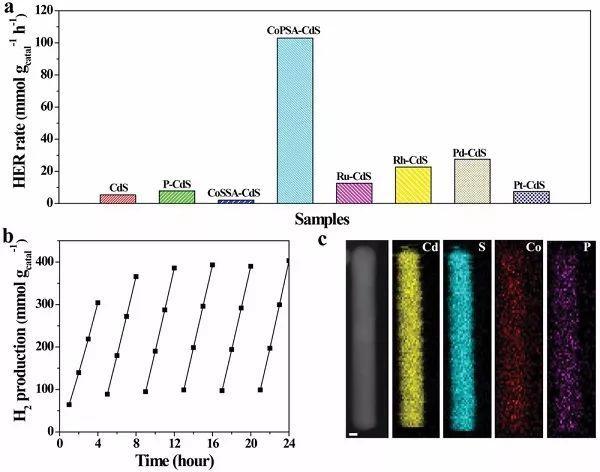富电子原子分散的Co-P3修饰CdS纳米棒提高光催化活性