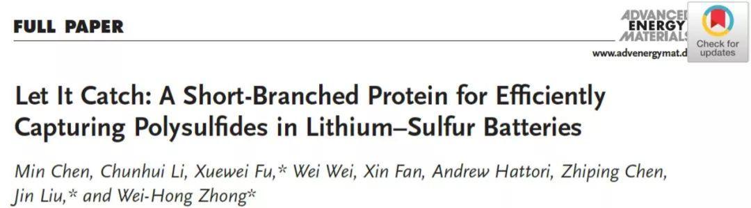 AEM:有效捕获Li-S电池多硫化物的短支链蛋白