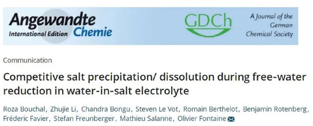 法国蒙彼利埃大学&国家科研中心 Angew. Chem.:深入分析Water-in-salt电解液还原稳定性的原因