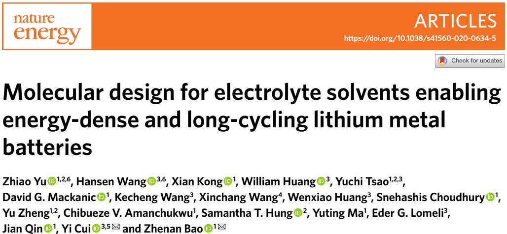 鲍哲南&崔屹联手Nature Energy:锂金属电池的电解液分子设计