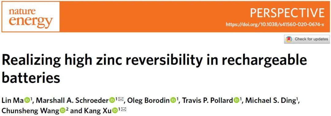 许康团队Nature Energy: 揭示锌负极高度可逆性的衡量标准