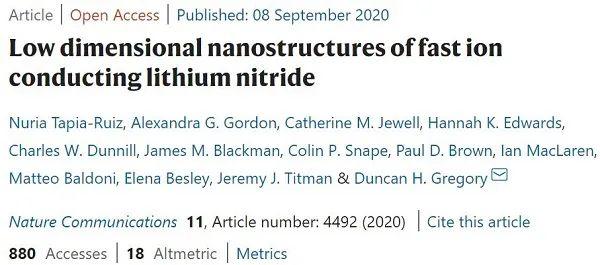"""Nature子刊:快离子传导氮化锂按""""石墨烯""""的模式来生长"""