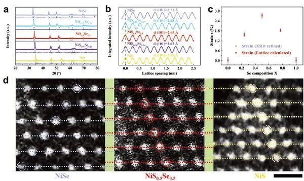 天津大学邓意达教授/韩晓鹏AM: 均匀NiS0.5Se0.5核-壳纳米结构的晶格应变工程用于制备高效稳定的全解水催化剂