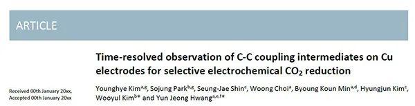 韩国科学技术院&淑明女子大学EES:时间分辨红外光谱观察铜电极上C-C耦合中间体用于选择性CO2电还原
