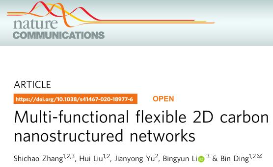 东华大学丁彬教授Nature子刊: 多功能、柔性2D碳膜