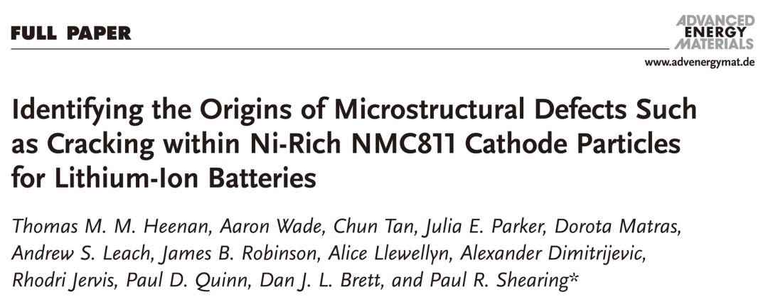 AEM:从电极制备过程开始分析-NMC811缺陷和裂痕的的源头