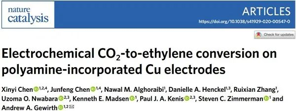 Nat. Catal.:高达90%!铜-多胺共电镀杂化催化剂提高CO2RR选择性