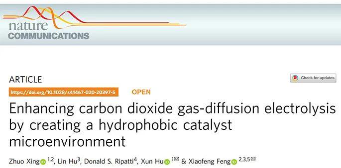 胡勋&冯小峰Nature子刊:关注电催化界面,助力工业化电解CO2!