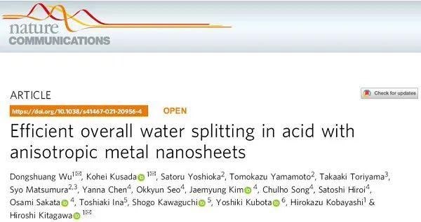 京都大学Nat. Commun.:这个纳米珊瑚,催化酸性全解水效果显著