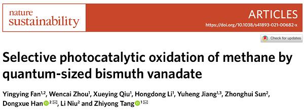 国家纳米中心唐智勇等Nat. Sustain.:光催化甲烷转化新进展