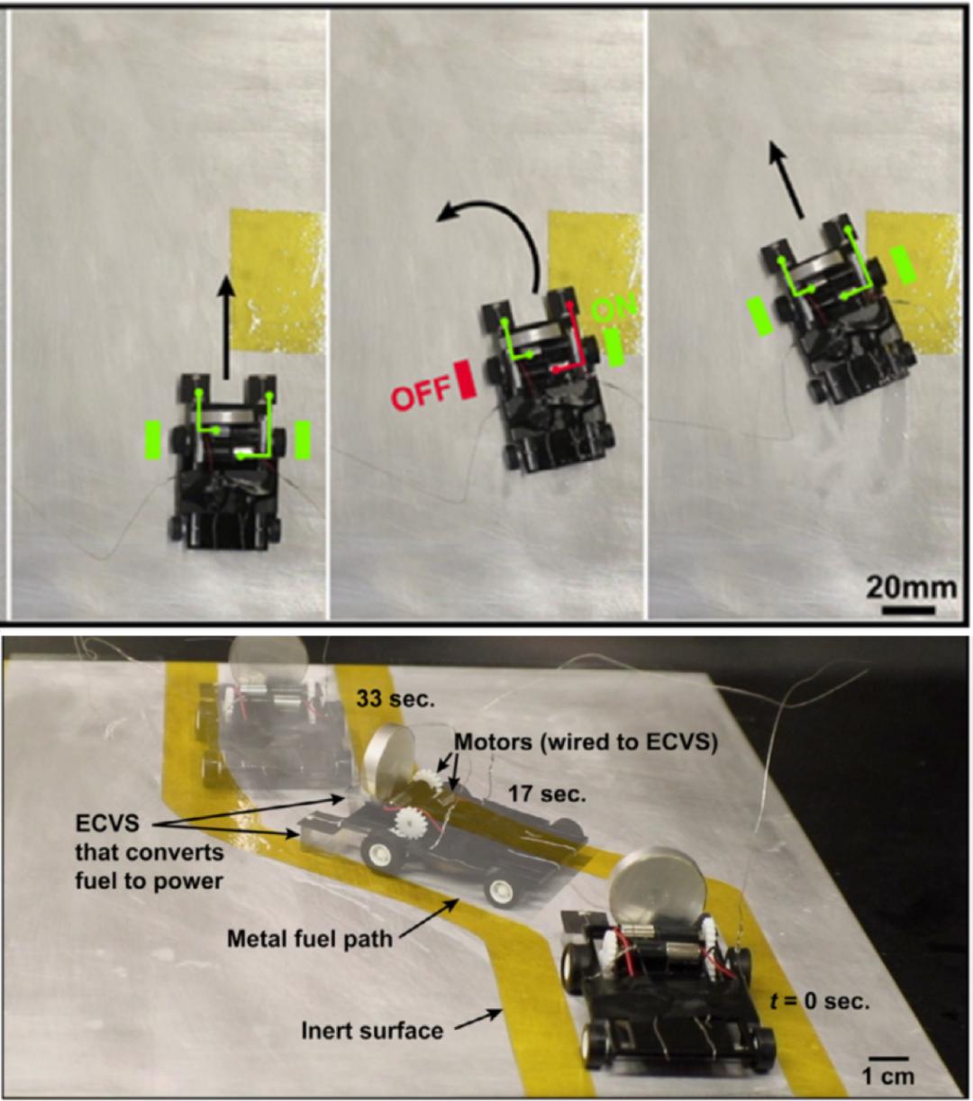 会玩!电化学让无电池、无程序控制的小车自主运动、趋利避害