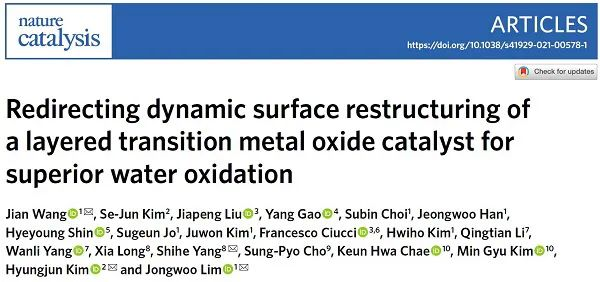 OER再登Nature Catalysis,这次实现表面的定向重构!