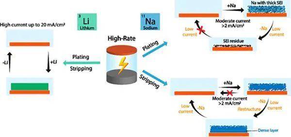 JACS:钠负极与锂负极快速充放电性能的比较